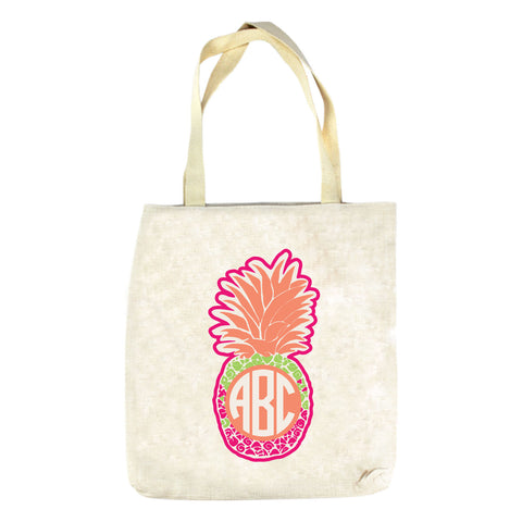 Fun Time Pineapple Initials Tote Bag