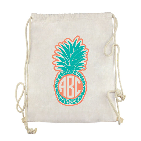 Teal Pineapple Initials Drawstring Bag