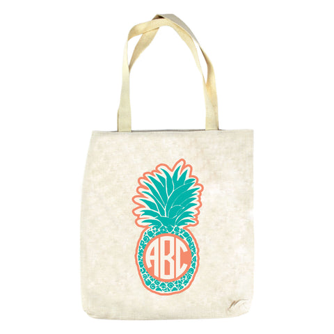 Teal Pineapple Initials Tote Bag