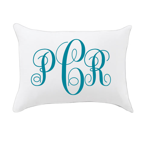 Teal Fancy Initials Travel Pillowcase