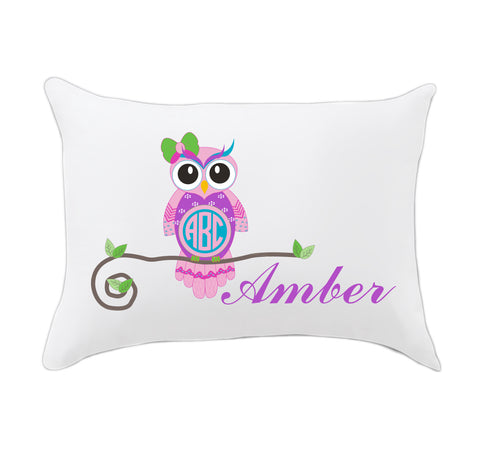 Owl Name Travel Pillowcase