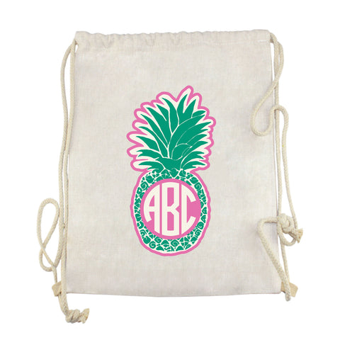 Green Pineapple Initials Drawstring Bag