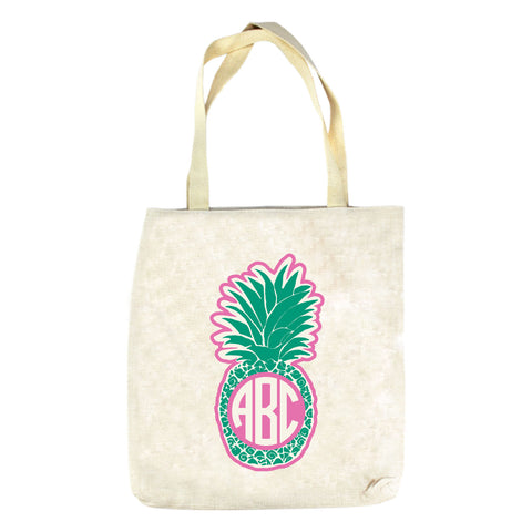 Green Pineapple Initials Tote Bag