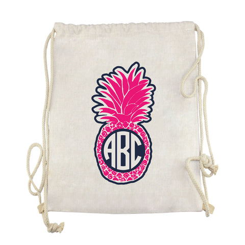 Pink Pineapple Initials Drawstring Bag