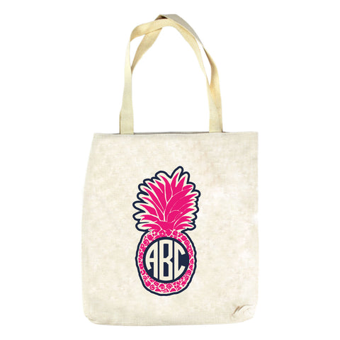 Pink Pineapple Initials Tote Bag