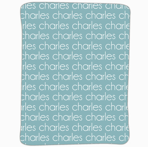 New Light Weight Teal Name Blanket