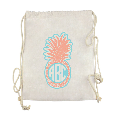 Peach Pineapple Initials Drawstring Bag