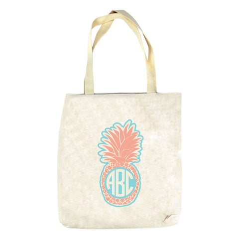 Peach Pineapple Initials Tote Bag