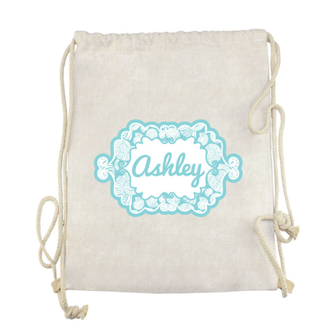 Shell Name Drawstring Bag