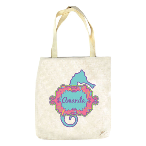 Hot Pink Seahorse Name Tote Bag