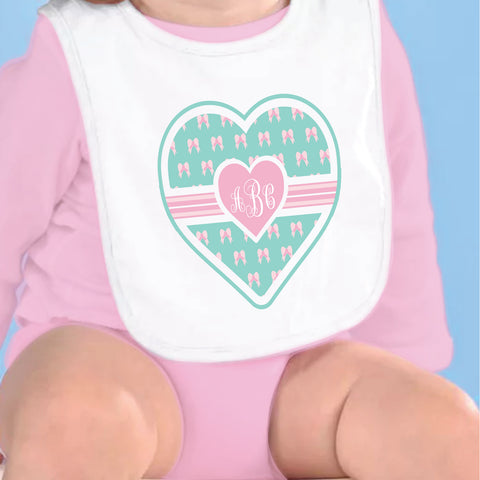 Bow Hearts Initial Fleece Bib