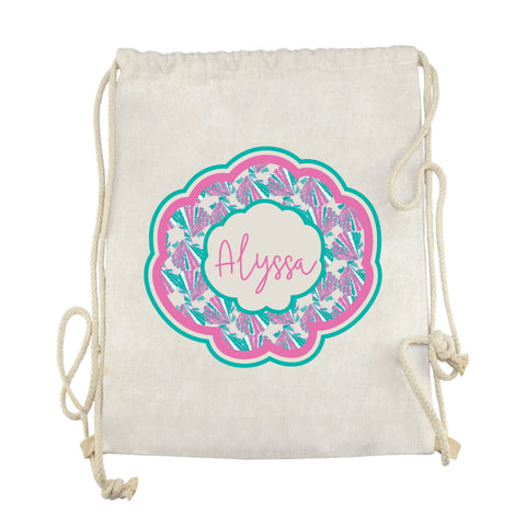Pink Shell Name Drawstring Bag