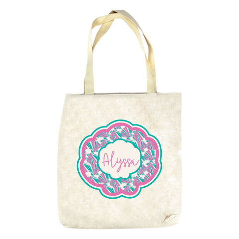 Pink Shell Name Tote Bag