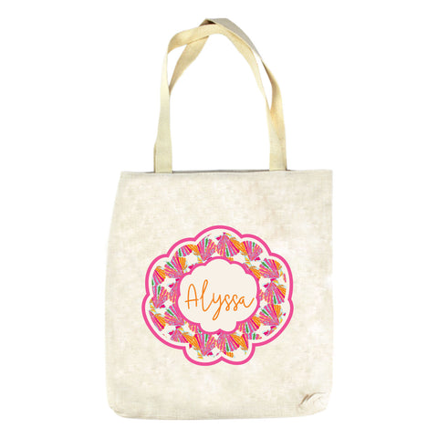 Orange Shell Name Tote Bag