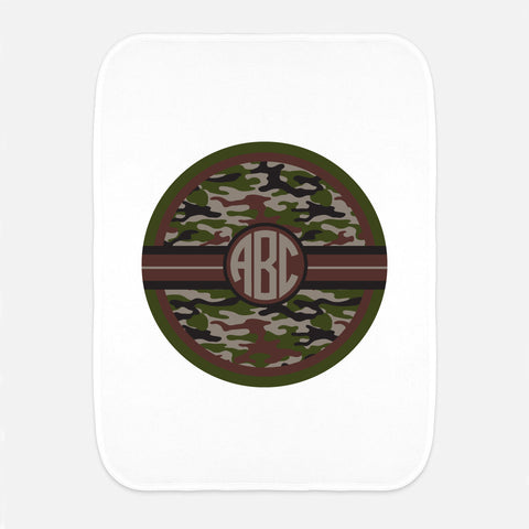 Camo Initial Fleece Burp Cloth