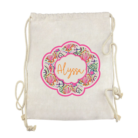 Watercolor Shell Name Drawstring Bag