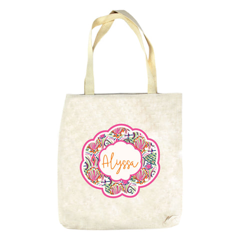 Watercolor Shell Name Tote Bag