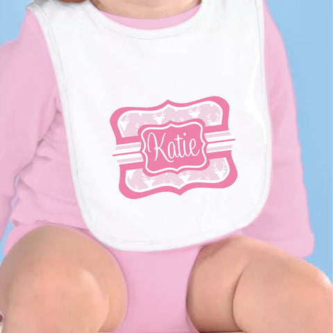 Pink Deer Name Fleece Bib