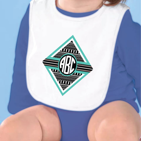 Gray Aztec Deer Initial Fleece Bib