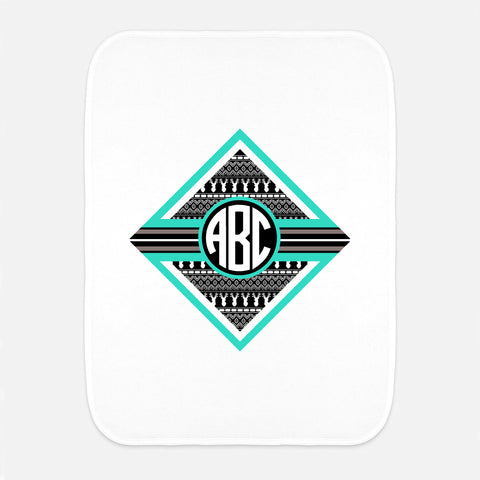 Gray Aztec Deer Initial Fleece Burp Cloth