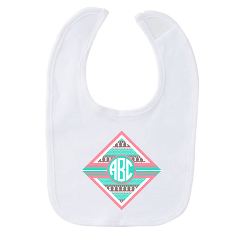 Aztec Deer Initial Fleece Bib