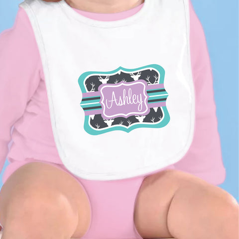 Gray Purple Deer Name Fleece Bib