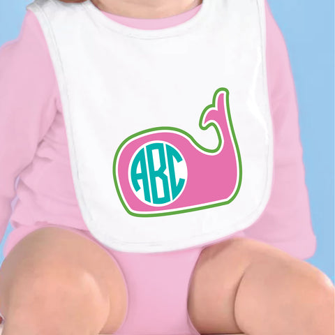 Whale Initial Fleece Bib