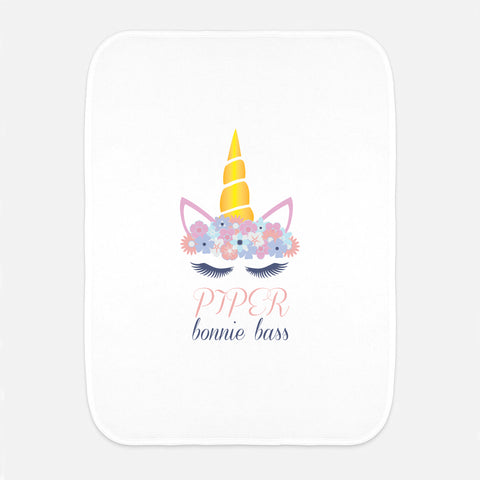 Unicorn Name Fleece Burp Cloth