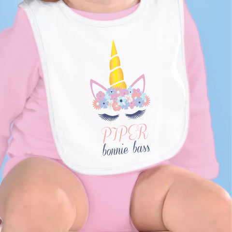 Unicorn Name Fleece Bib