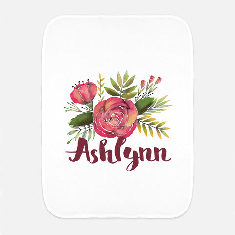 Burgundy Rose Name Fleece Burp Cloth