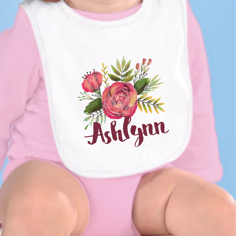 Burgundy Rose Name Fleece Bib