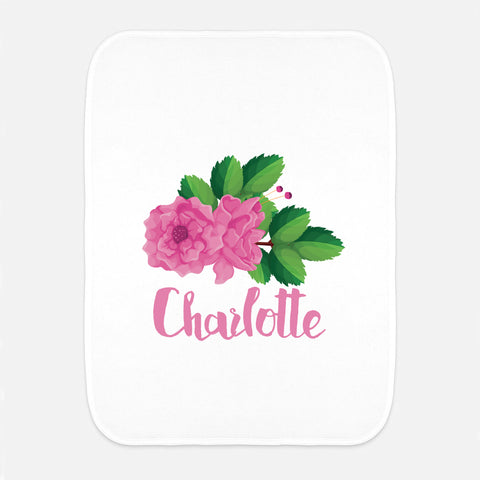 Pink Rose Name Fleece Burp Cloth