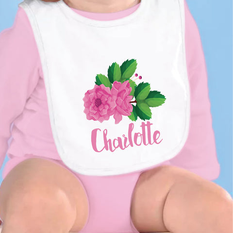 Pink Rose Name Fleece Bib
