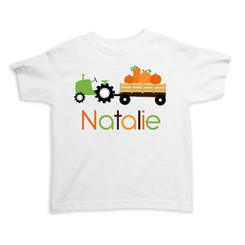 Tractor with Pumpkins Name Tee