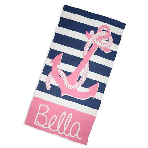 Navy Stripe Pink Anchor Rope Towel with Name