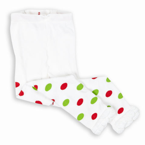 Red and Green Dot Ruffle Footless Tights