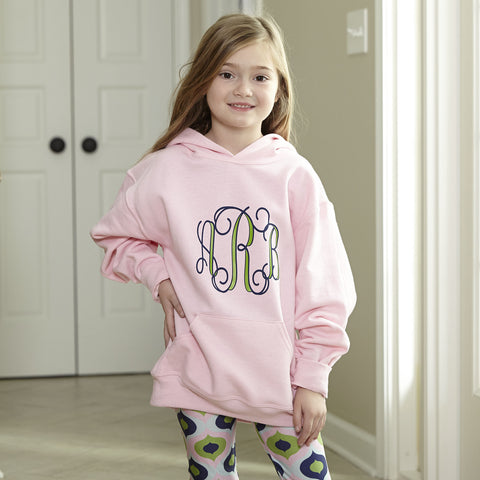Pink Hooded Sweatshirt Initials