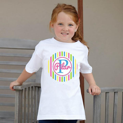 Girls Bright Stripe Name Tee