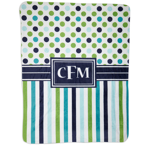 Navy Lime Dot Stripe Minky Initial Blanket