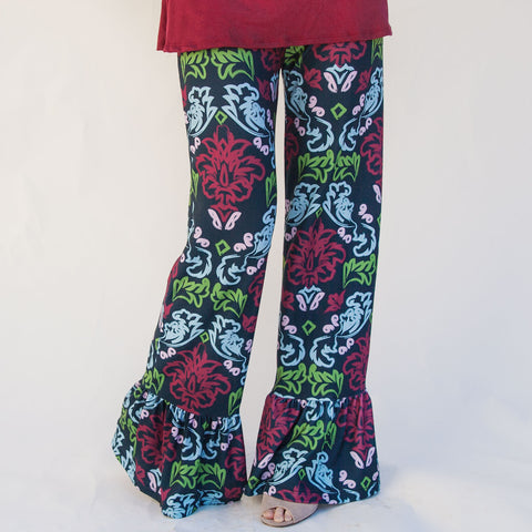Ladies Navy Damask Ruffle Pant