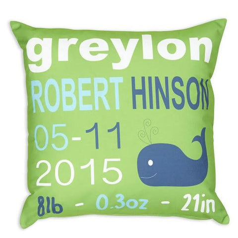 Green Aqua Name Date Weight Whale Throw Pillow Cover