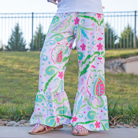 Girls Floral Ruffle Pant