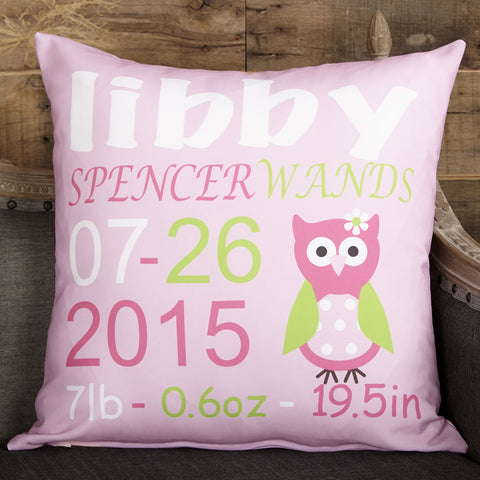 Pink Girl Owl Name Birthdate Weight Inches Pillow Cover