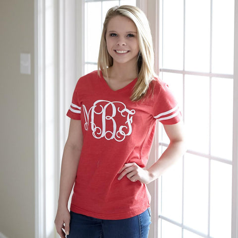 Red Football Initials Tee