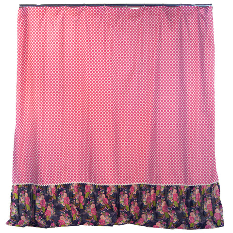Pink Dot Floral Shower Curtain