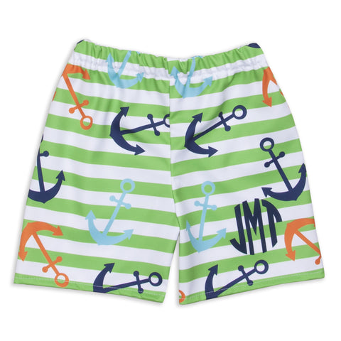 Lime Stripe Anchor Shorts