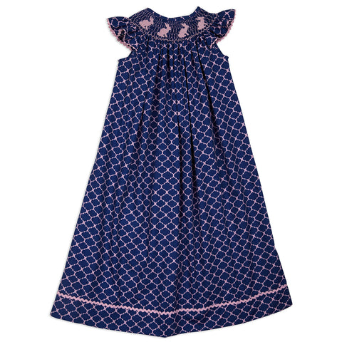 Navy Lattice Smocked Bishop Dress with Bloomers