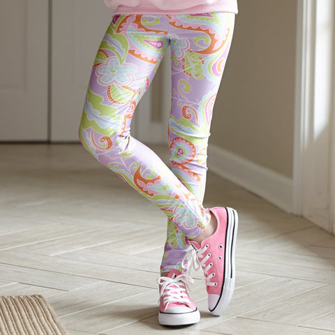 Girls Lavender Paisley Arden Leggings