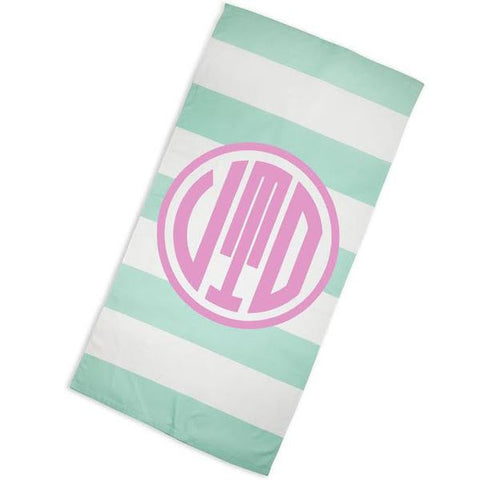 Aqua Stripe Pink Circle Towel with Initials