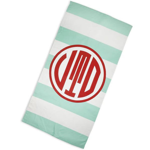 Aqua Stripe Red Circle Towel with Initials